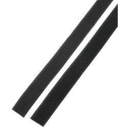 Samoljepljiva traka s čičkom Basetech prianjajući i mekani dio (D x Š) 1 m x 25 mm crna STD-LH25/1M 1 par