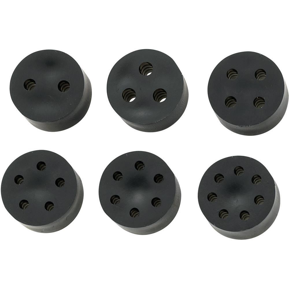 Tesnilni vložek za več kablov PG21 guma črne barve KSS MH23-2A 1 kos