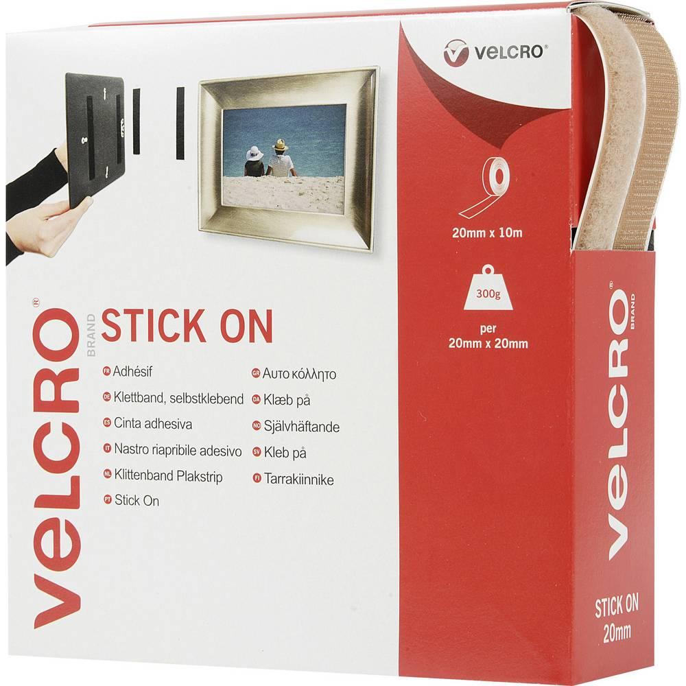 Samolepilen sprijemalni trak Velcro Stick On VEL-EC60221, 10m x 20 mm, bež barve, 10 m