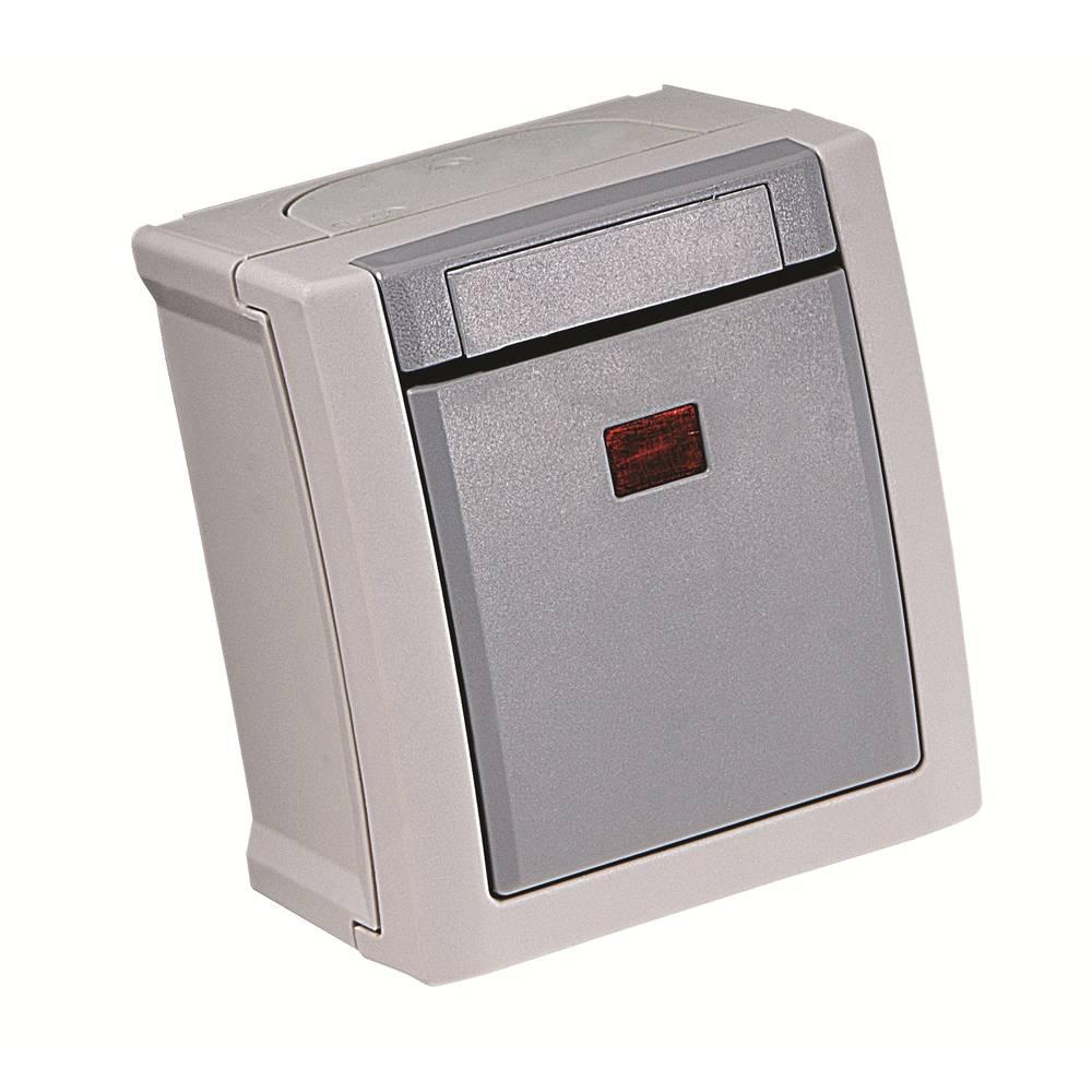 VIKO kontrolni prekidač, isključni prekidač za vlažne prostorije Pacific siva 90591023-DE