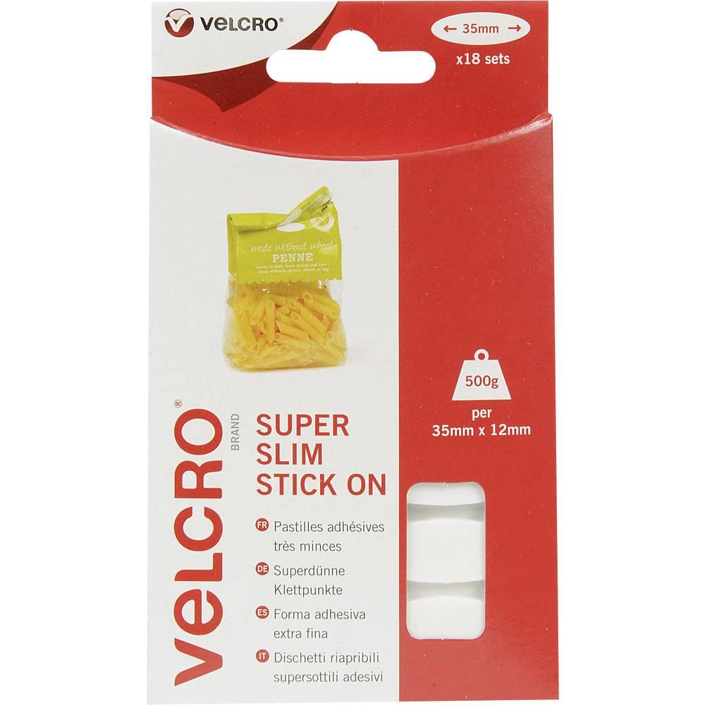 Samoljepljive elipse s čičkom Velcro prianjajući i mekani dio (D x Š) 35 mm x 12 mm bijela VEL-EC60212 18 komada