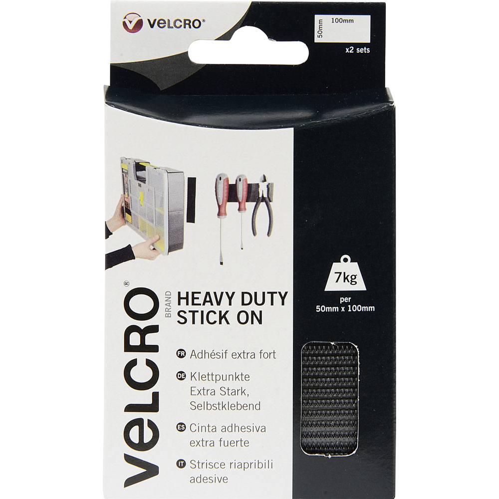 Izjemno močen sprijemalni trakVelcro Stick On VEL-EC60239,100 mm x 50 mm, črn, 4 kosi