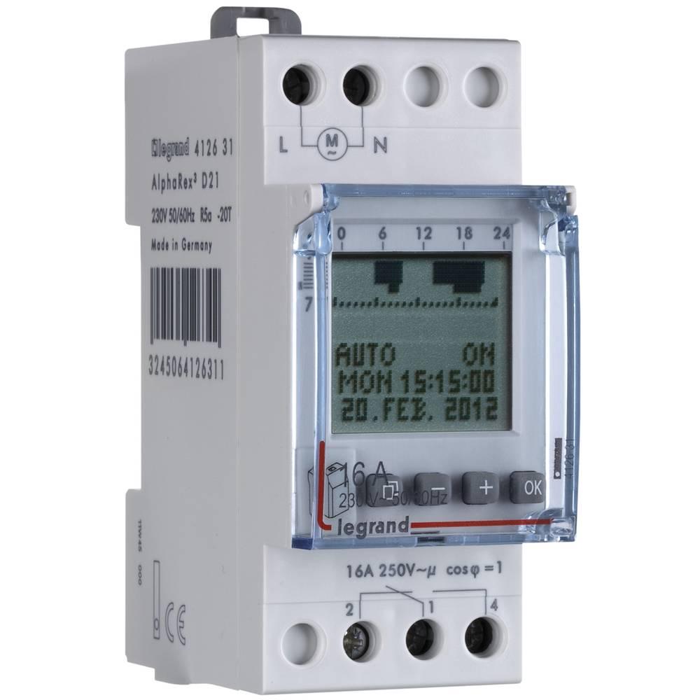 Digitalna časovna stikalna ura za namestitev na vodila Legrand, 16 A/250 V