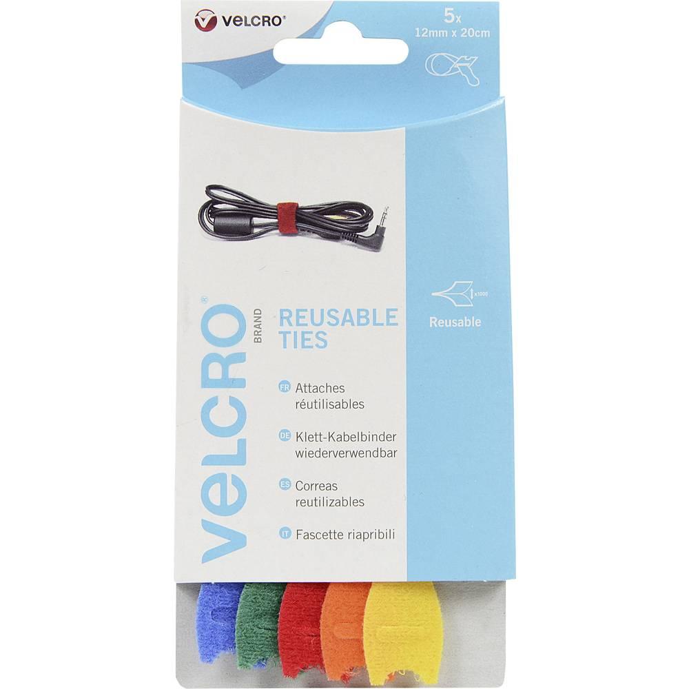 Sprijemalne kabelske vezice Velcro VEL-EC60250, (D x Š) 20 cm x 12 mm, večbarvne, 5 kosov