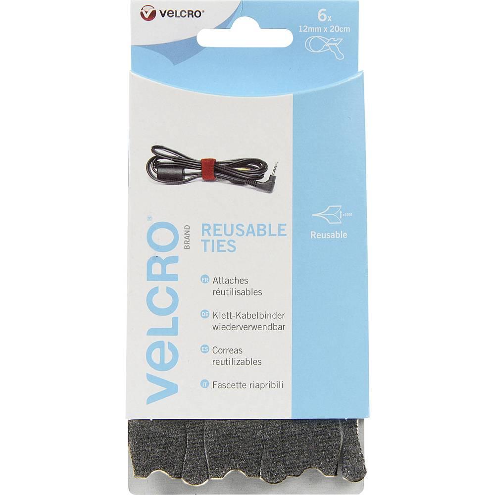 Sprijemalne kabelske vezice Velcro VEL-EC60388, (D x Š) 20 cm x 12 mm, črne barve, 6 kosov