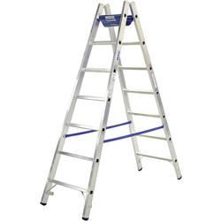 Dvojna aluminijasta lestev z nastavkom za orodje, delovna višina (maks.): 3.05 m Krause 124906W srebrne barve, modre barve 6.3 k