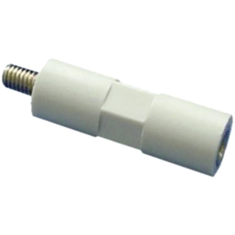 Isolerende distancebolte Polystyren hvid-grå, gevindindsatser galvaniseret stål M4 Længde: 30 mm 1 stk