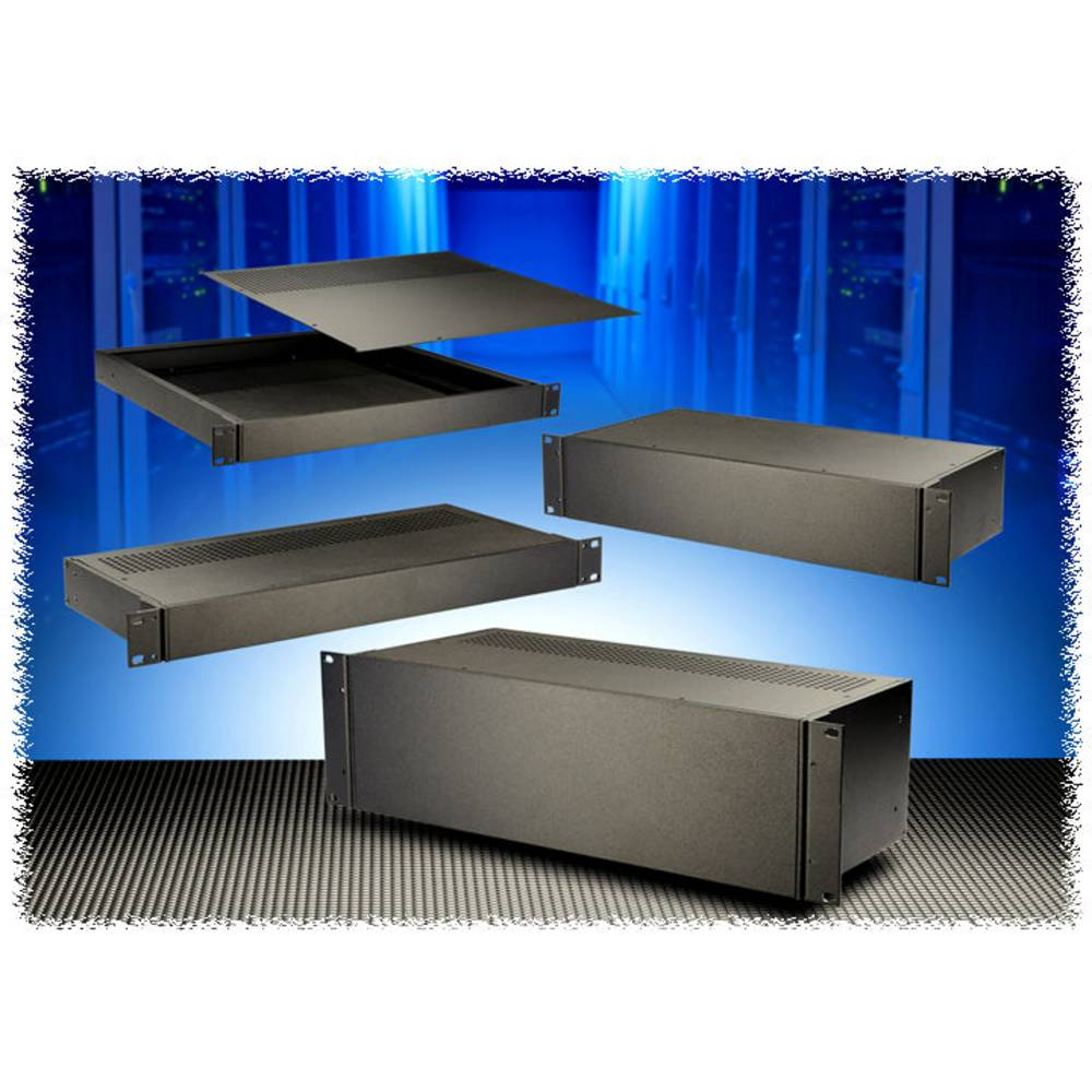 Universalkabinet 108 x 211 x 44 Aluminium Sort Hammond Electronics RM1U0804SBK 1 stk