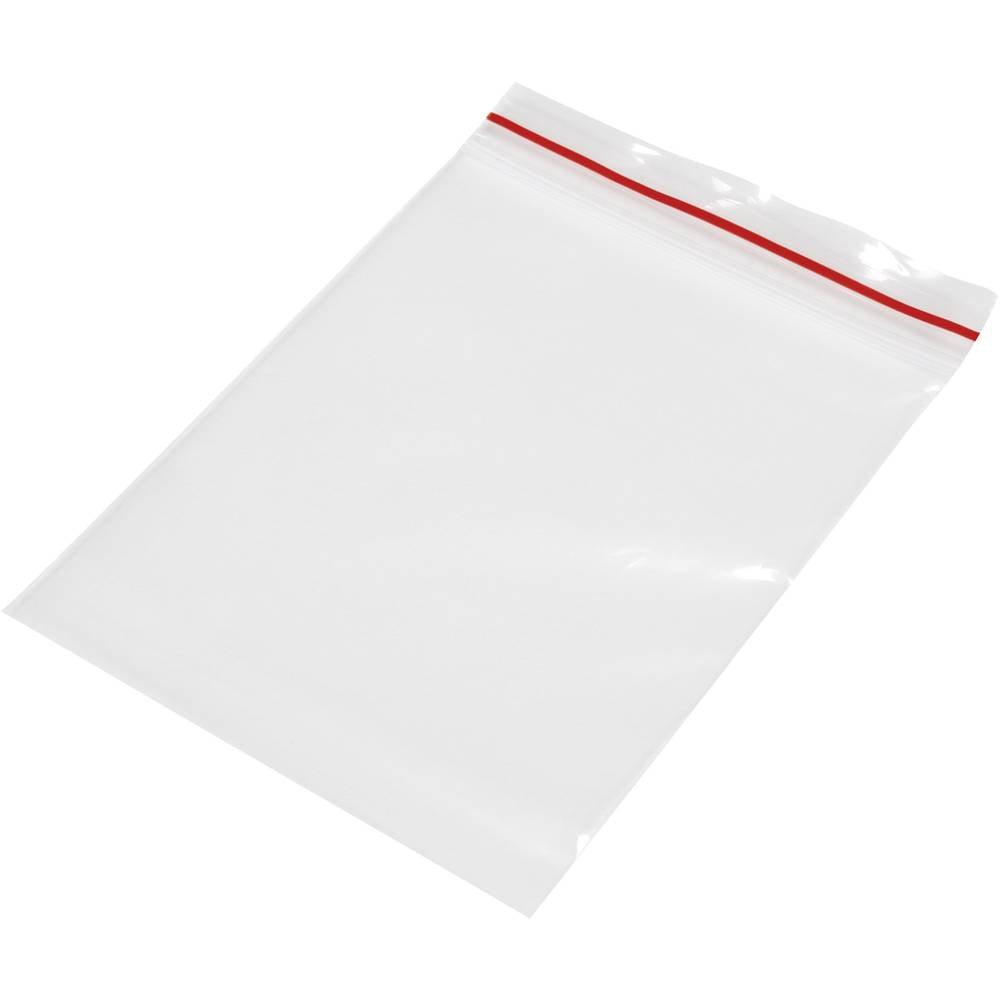 Vrečka s patentnim zapiranjem na pritisk brez traku za označevanje (Š x V) 70 mm x 100 mm prozorna, polietilen