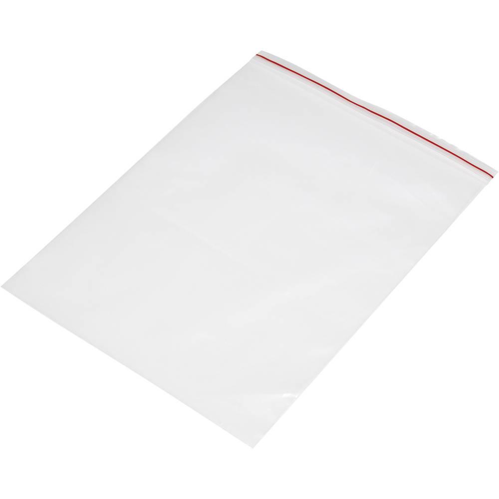 Vrečka s patentnim zapiranjem na pritisk brez traku za označevanje (Š x V) 180 mm x 250 mm prozorna, polietilen