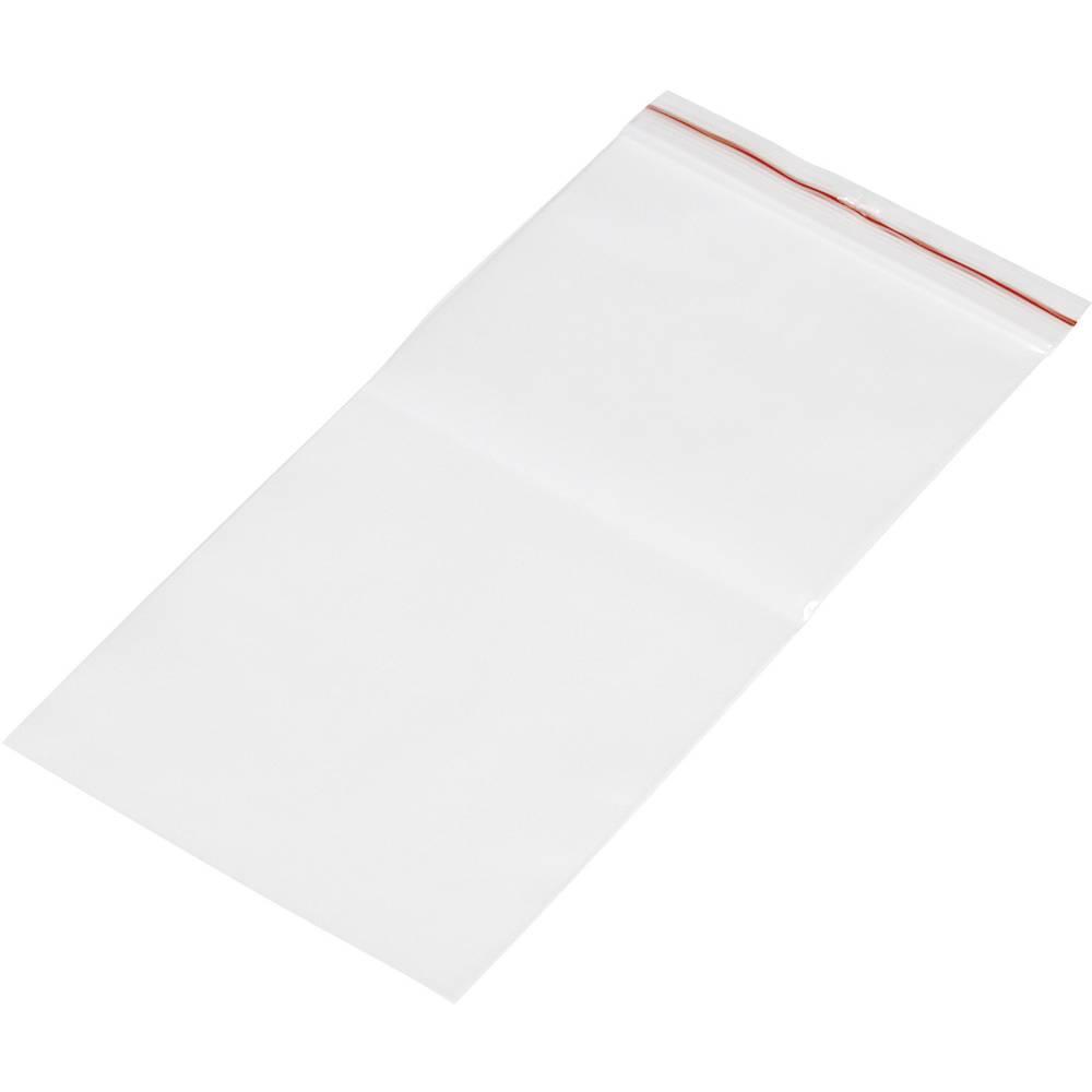 Vrečka s patentnim zapiranjem na pritisk brez traku za označevanje (Š x V) 100 mm x 200 mm prozorna, polietilen