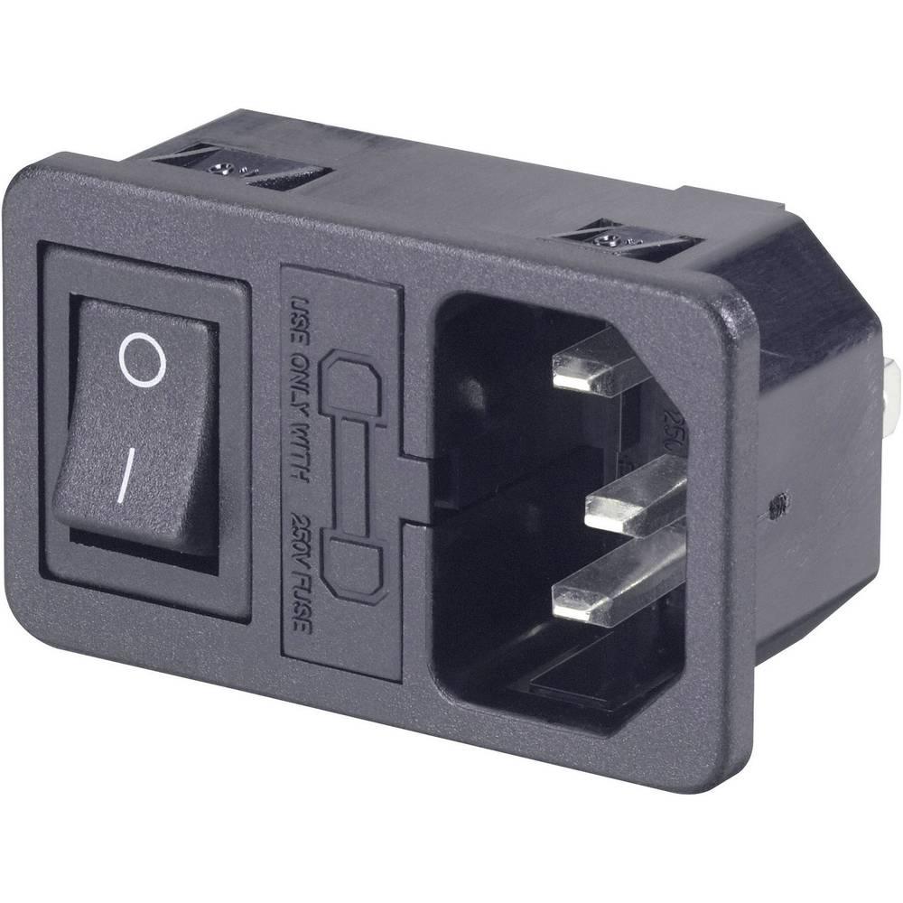 Utični konektor za hladne uređaje C14 utikač, okomita ugradnja broj polova: 3 10 A crna 1 komad.