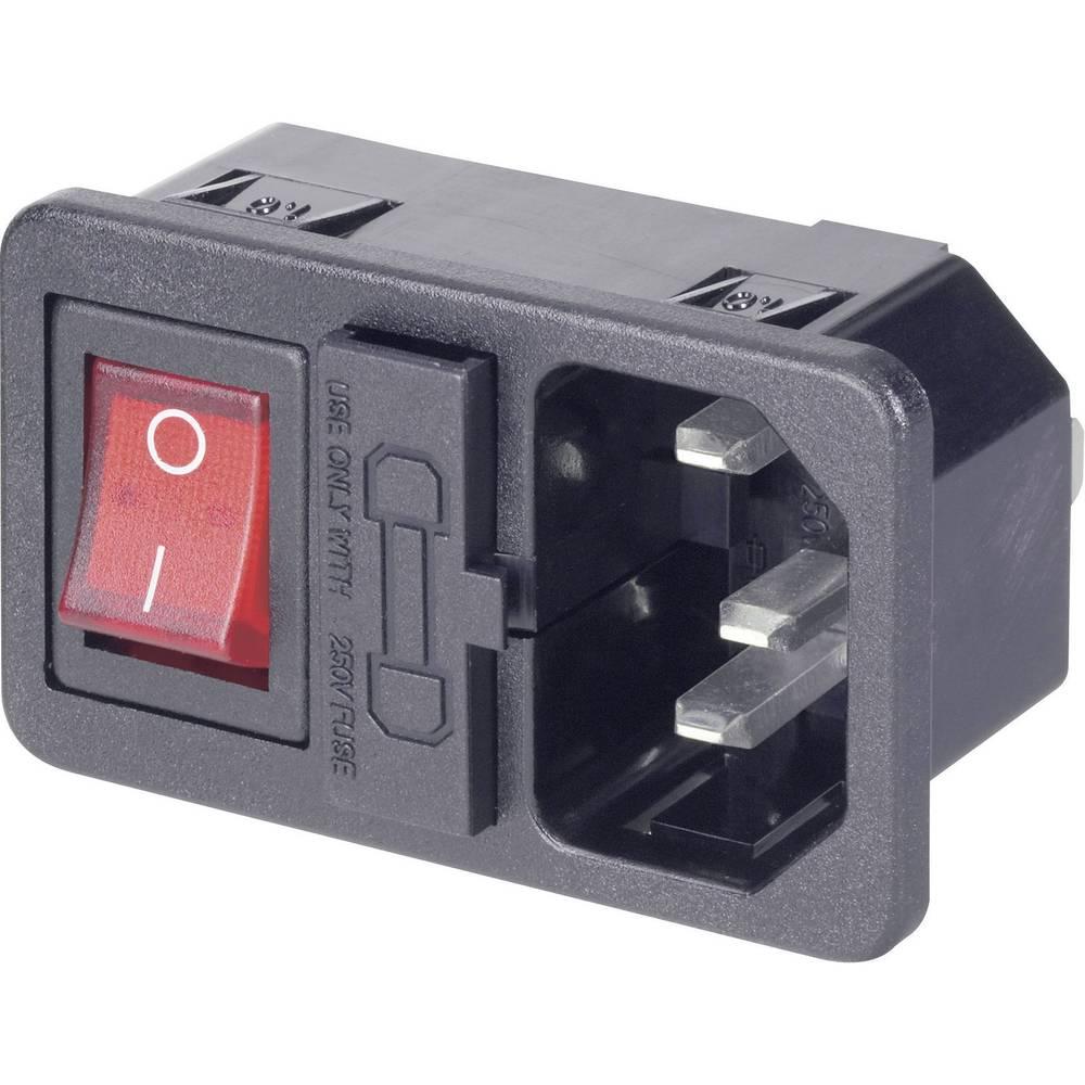 Mrežni konektor za hladne uređaje, C14 utič, ugradni, vertikalni, br. polova: 3 10 A crni 1 kom.