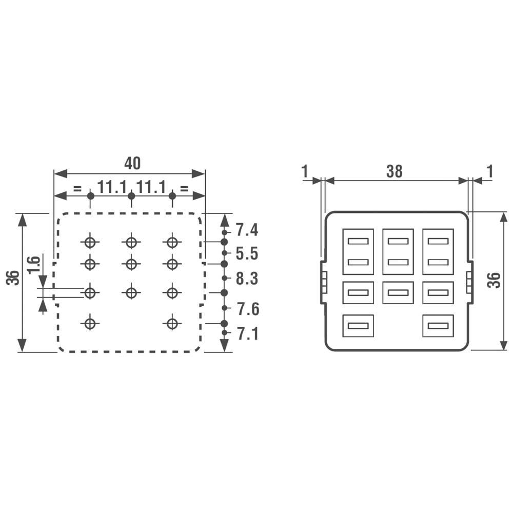 Relejsko podnožje 92.13 Finder za seriju: Finder serija 62 (D x Š x V) 38 x 36 x 18.5 mm 1 kom.