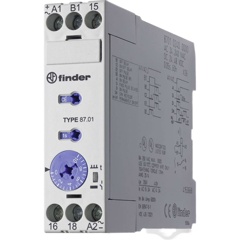 Finder 87.01.0.240 -Industrijski vremenski relej, 22,5 mm, 24-48V/DC/24-240V/AC, 1NC
