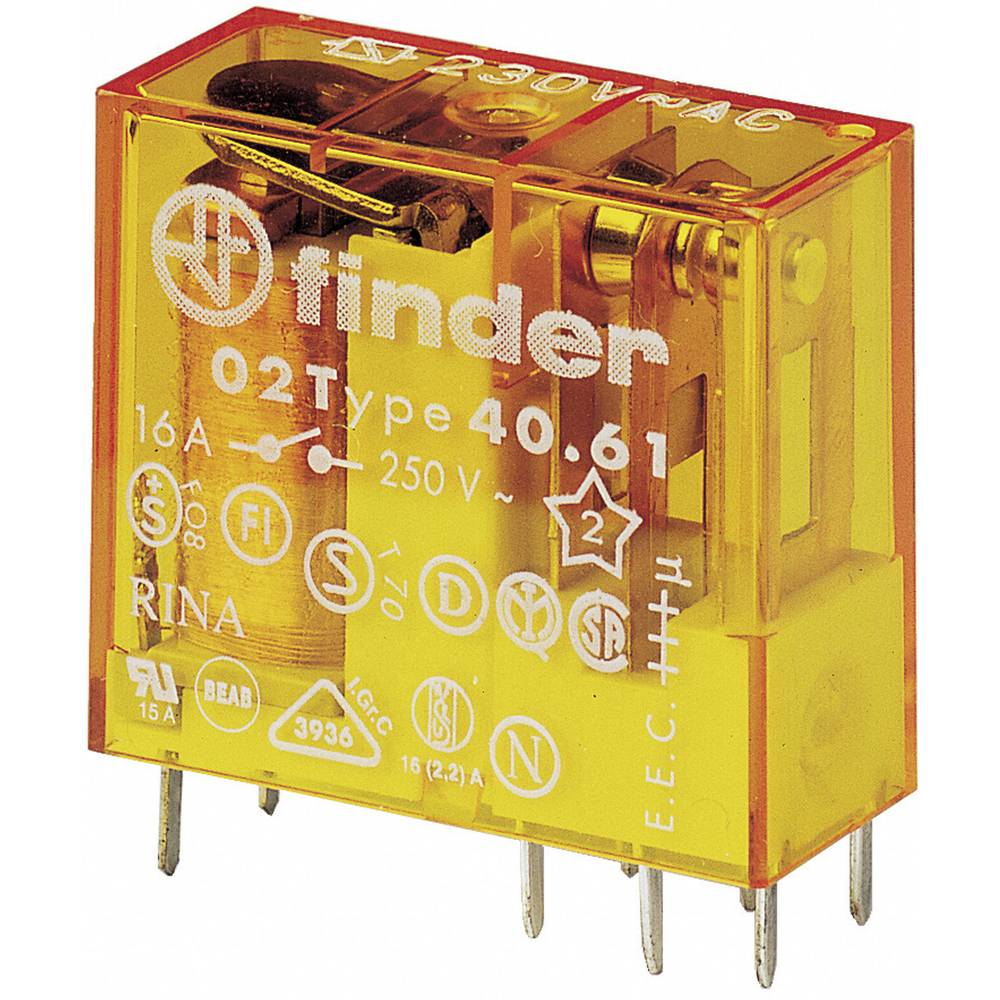 Utični relej za tiskanu pločicu Finder 40.61.8.012.0000, 12V/AC, 16 A, 250 V/AC, 30 V/DC