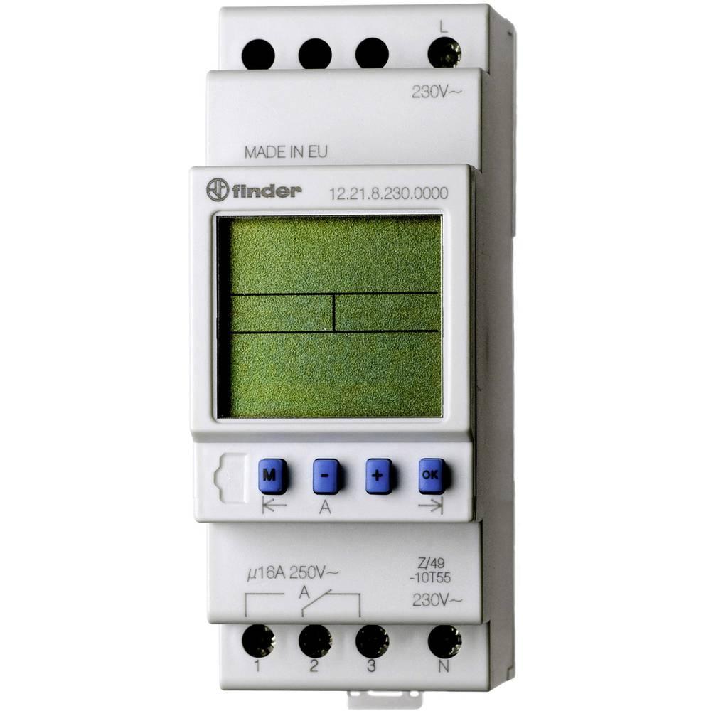 Uklopni sat za profilnu šinu 12.21.8.230.0000 Finder radni napon: 230 V/AC 1 izmjenični kontakt 16 A 250 V/AC tjedni program