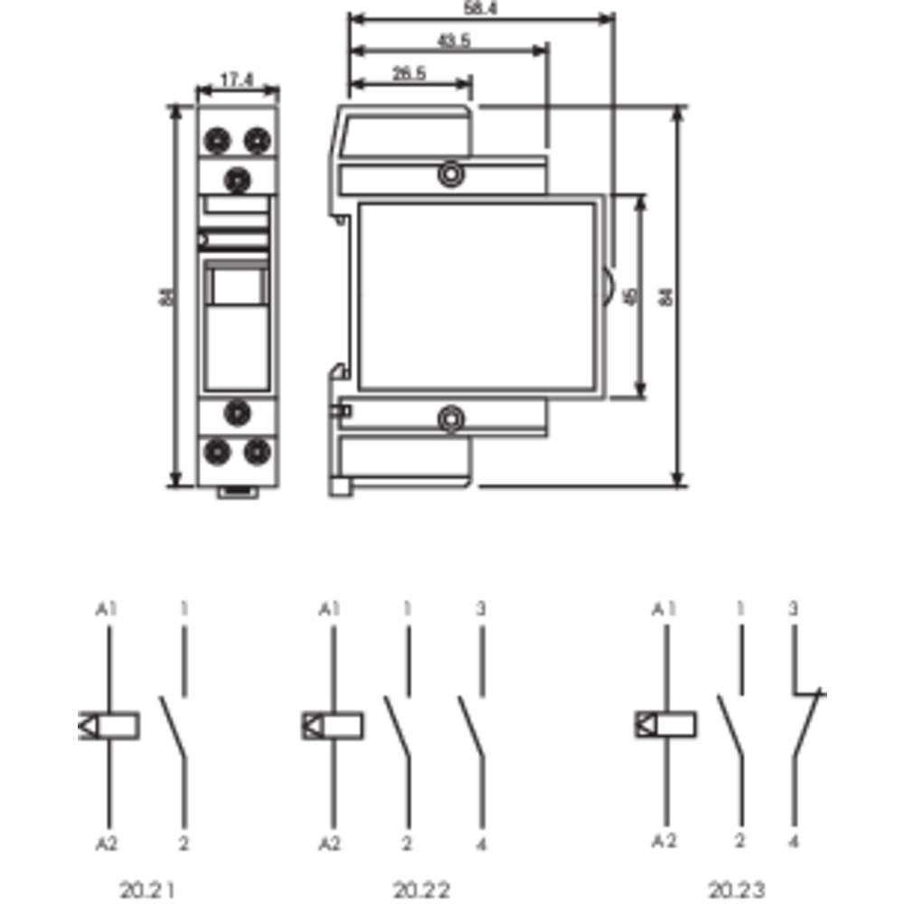 Impulsna sklopka za profinu šinu 20.22.9.012.4000 Finder 2 otvorena kontakta 12 V/DC 16 A 4000 Finder VA 1 kom.