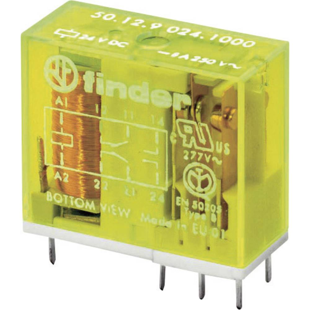 Sigurnosni relej za tiskanu pločicu Finder 50.12.9.024.5000, 24V/DC, 2x preklopni k., 8 A