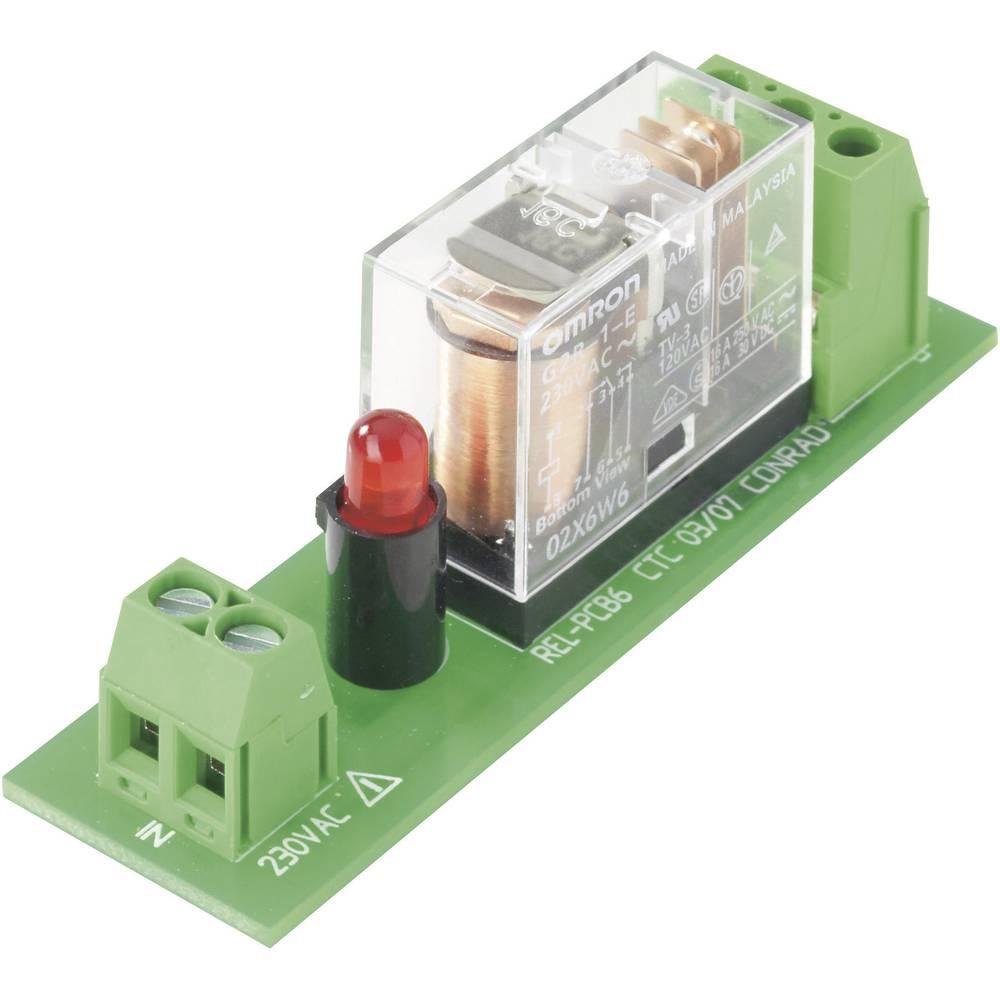 Relejna ploča REL-PCB6 Conrad s relejom 230 V/AC navojnica 1 230 V/AC 1 izmjenični kontakt maks. 16 A/250 V/AC