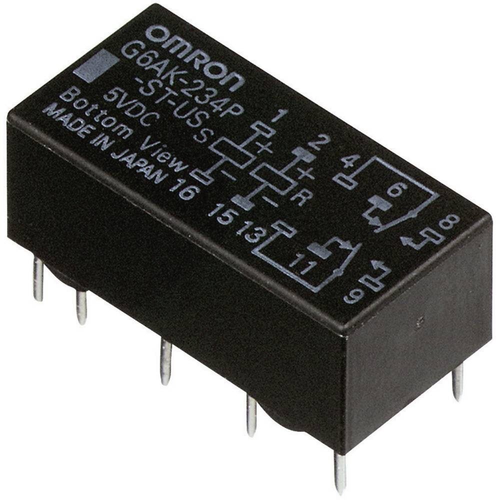 Signalni rele G6A Omron bistabilen 5 V/DC 2 preklopnik (30 V/DC) 2 A/ (125 V/AC) 0.5 A maks. 220 V/DC/ G6AK274PSTUS5DC