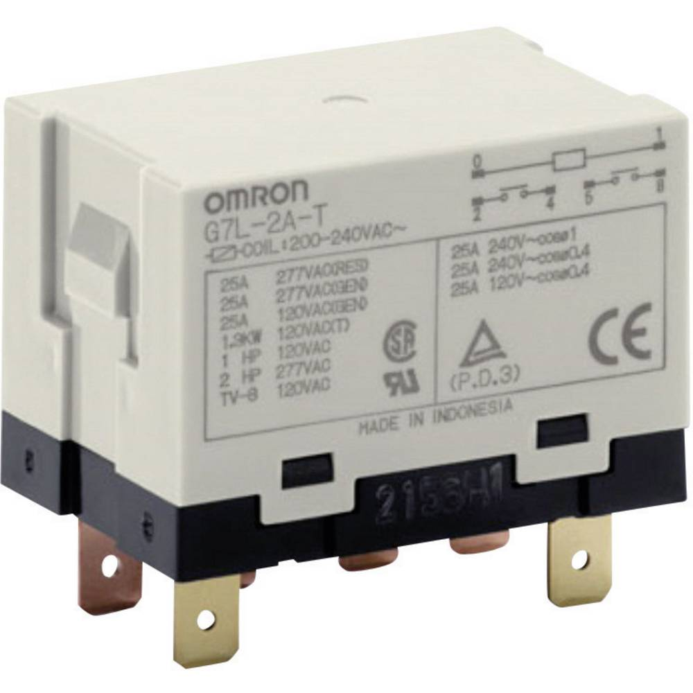 Steckrelais (value.1292892) 240 V/AC 25 A 2 Schließer (value.1345272) Omron G7L-2A-T 200-240 VAC 1 stk