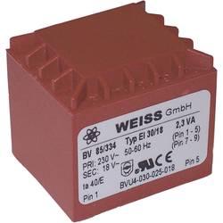 Printtransformator 1 x 230 V 1 x 12 V/AC 2.30 VA 192 mA 85/332 Weiss Elektrotechnik