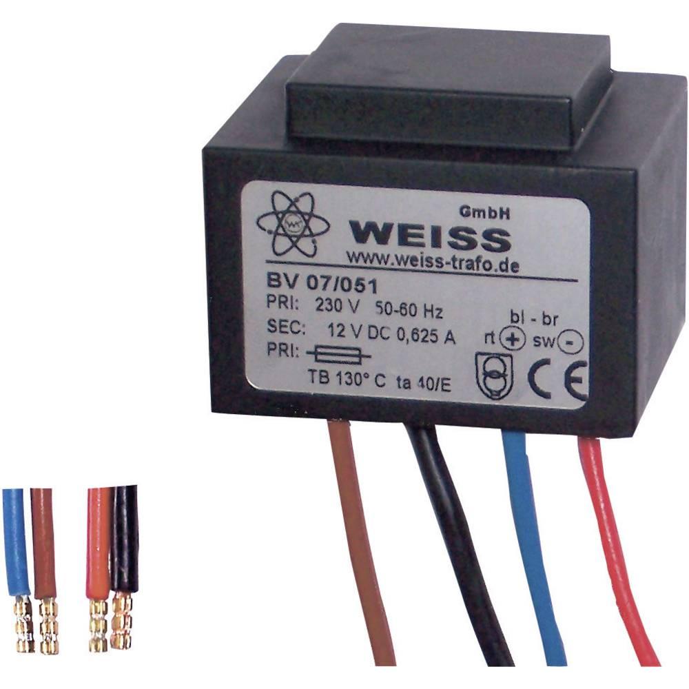 Kompaktni napajalnik z vgrajenim usmernikom in izravnavanjem230 V 12 V / AC 625 mA, Weiss 07/051 Weiss Elektrotechnik