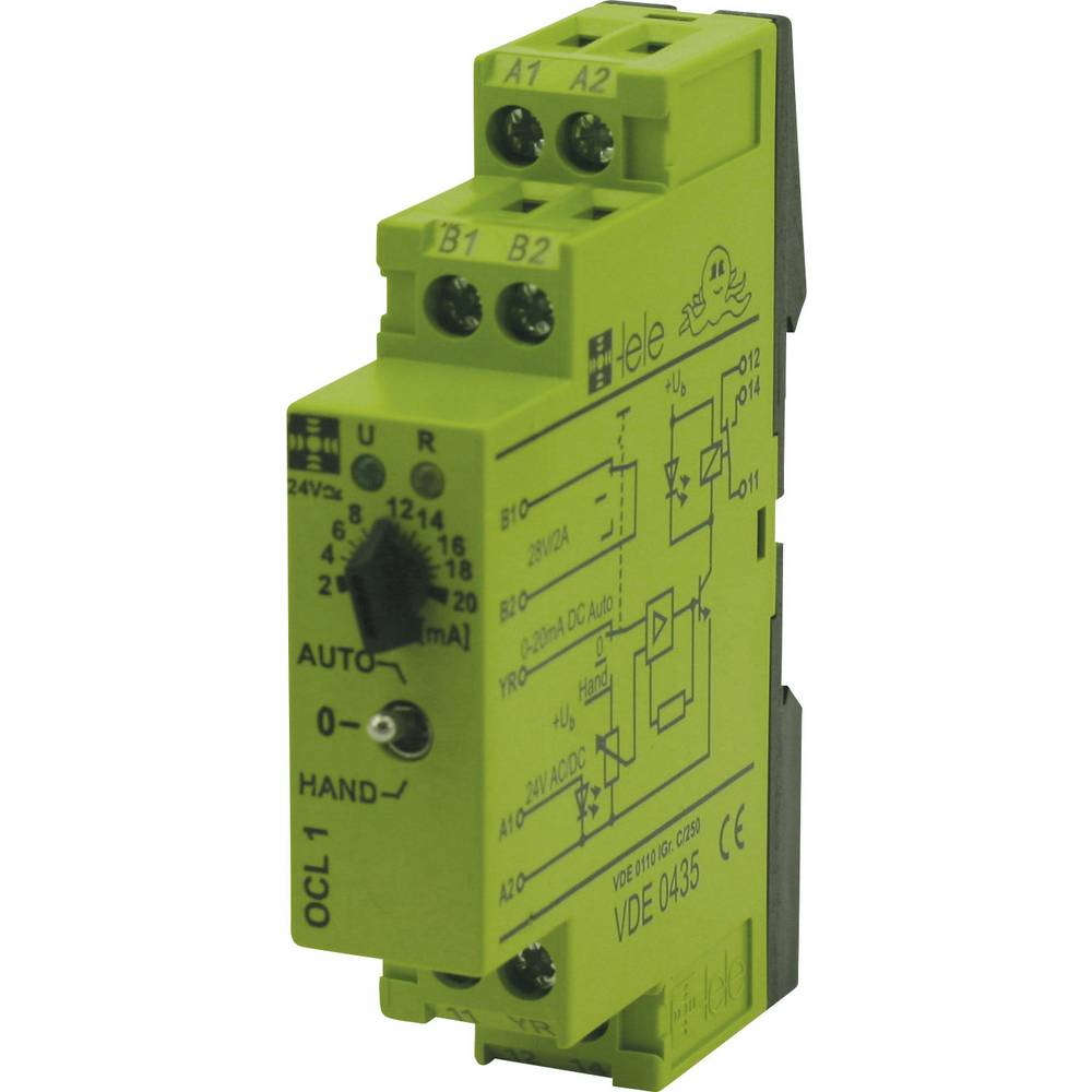 Koblingsrelæ 1 stk 24 V/DC, 24 V/AC 5 A 1 x skiftekontakt tele OCL1 24 V/AC/DC 0 - 20 mA