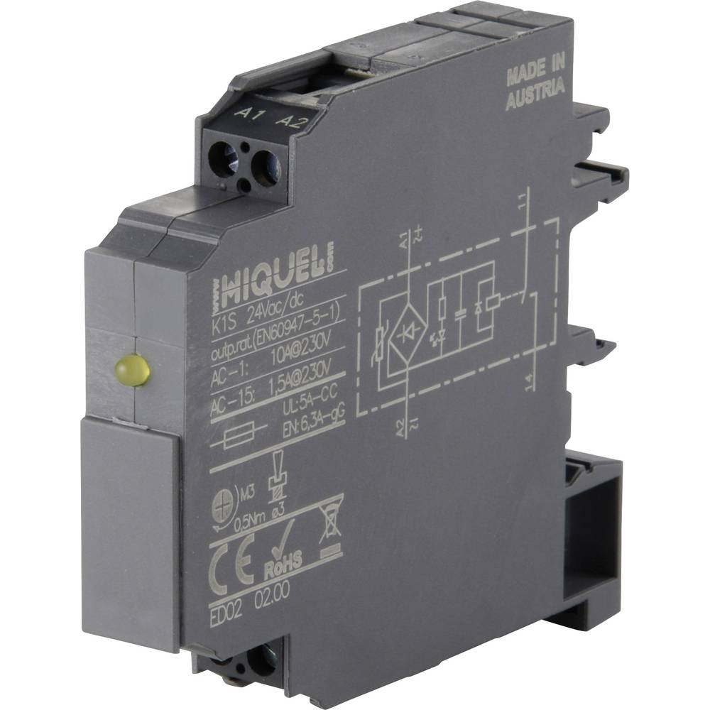 Sklopni rele 12 mm širina Hiquel K1S 230Vac 1 zapiralo (AC-1) 10 A 1 kos