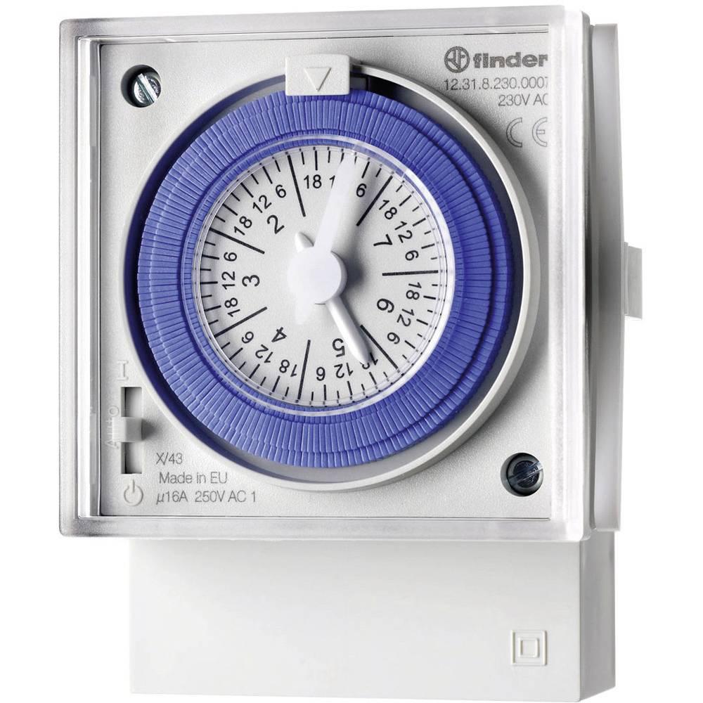 Timer til DINskinne Driftsspænding (num): 230 V/AC Finder 12.31.8.230.0007 1 x skiftekontakt 16 A Ugeprogram
