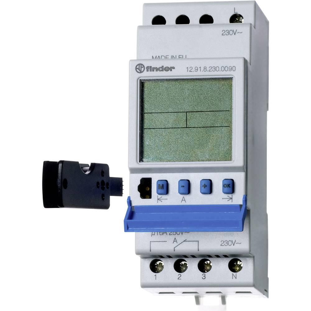Uklopni sat za profilnu šinu 12.91.8.230.0090 Finder radni napon: 230 V/AC 1 izmjenični kontakt 16 A 250 V/AC dnevni program
