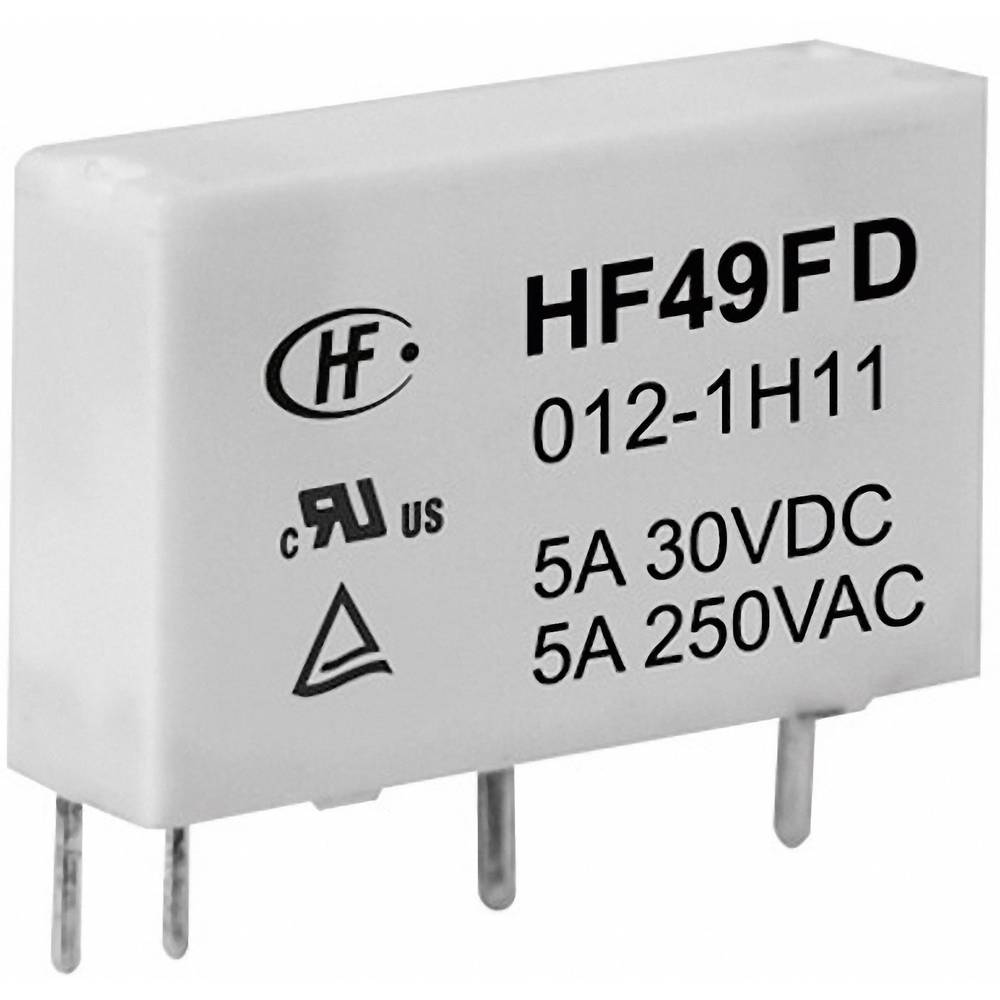 Omrežni rele Hongfa HF49FD/012-1H12F, 12 V/DC, 1 x delovni k., maks. 5 A, 30 V/DC/250 V/AC