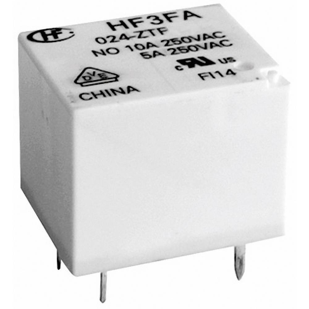 Kockast rele Hongfa HF3FA/024-ZTF, 24 V/DC, 1 x preklopni k., maks. 10 A, 30 V/DC/277 V/AC