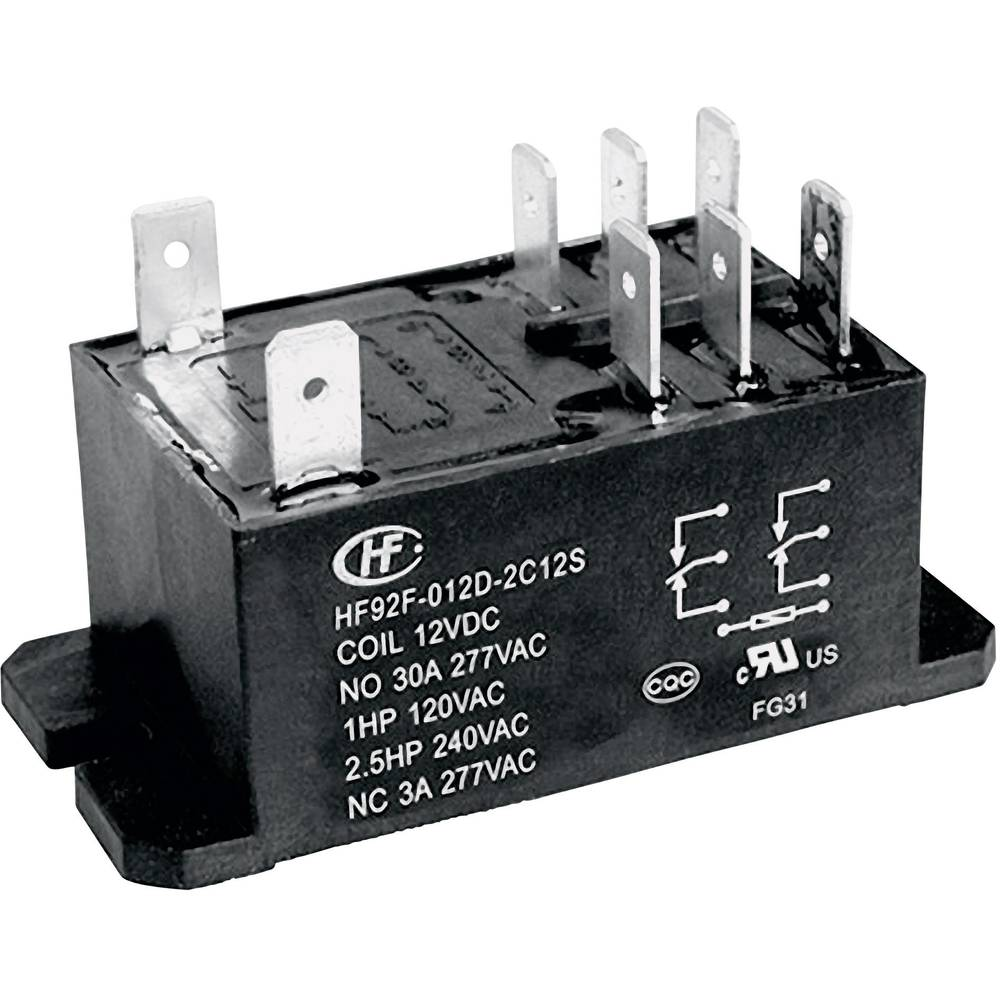 Močnostni rele HF92F Hongfa HF92F-024D-2A21S, 24 V/DC, 2 x delovni k., 30 A, 277 V/AC