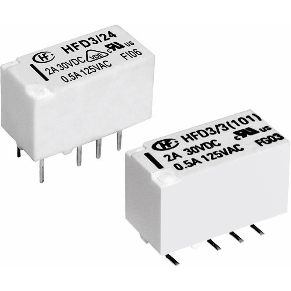 Izjemno majhen signalni rele Hongfa HFD3/024-L2, 24 V/DC, 2xpreklopni kontakt, maks. 2 A