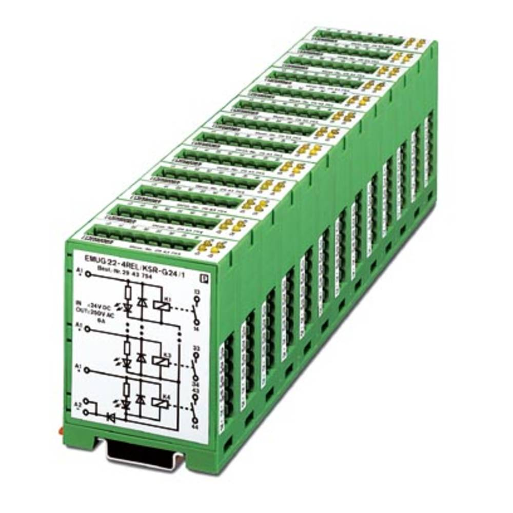 Relaisbaustein (value.1292895) 5 stk Phoenix Contact EMUG 22- 4REL/KSR-G 24/ 1 Nominel spænding: 24 V/DC Brydestrøm (max.): 6 A