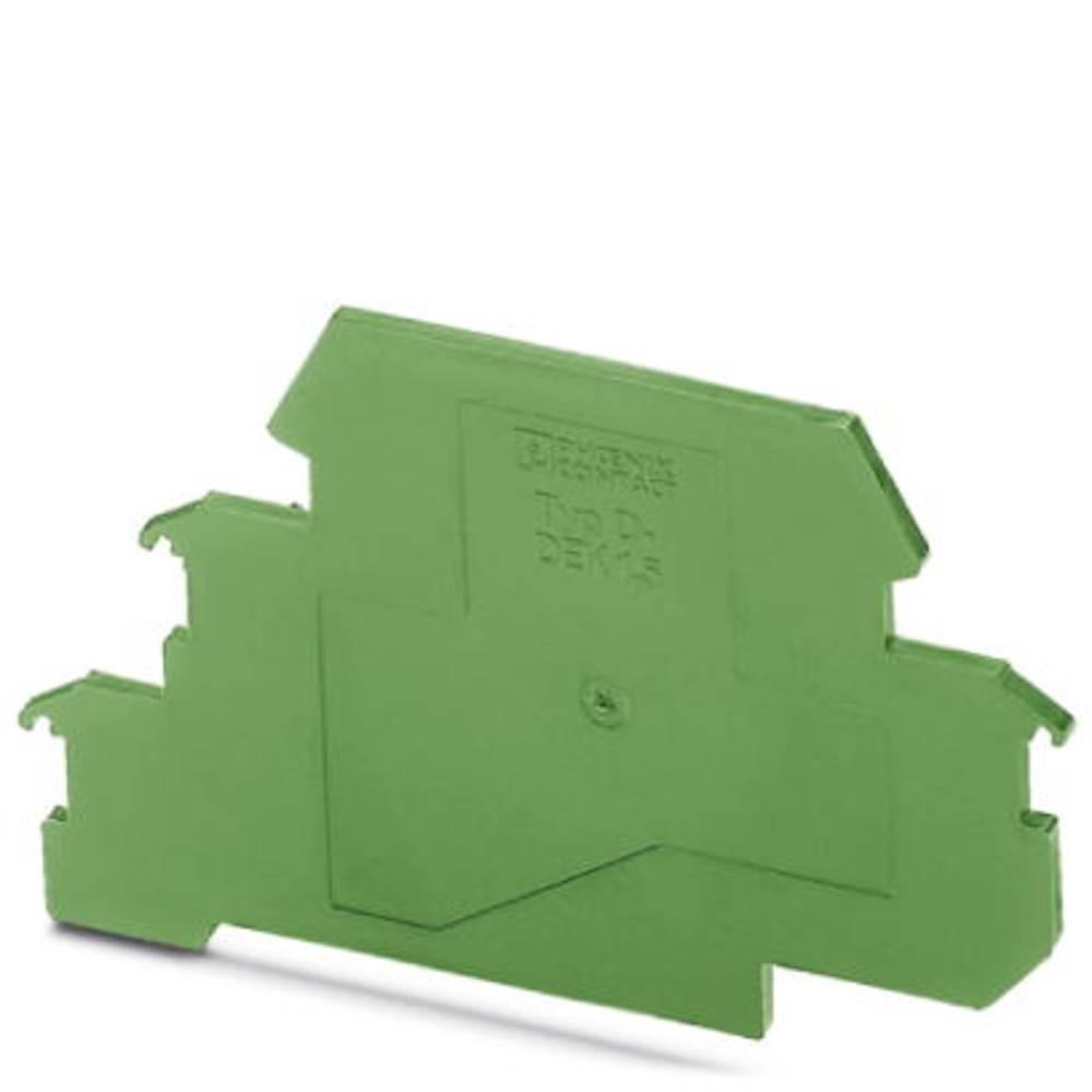 Zaključna plošča zelene barve, 10 kosov Phoenix Contact D-DEK 1,5 GN