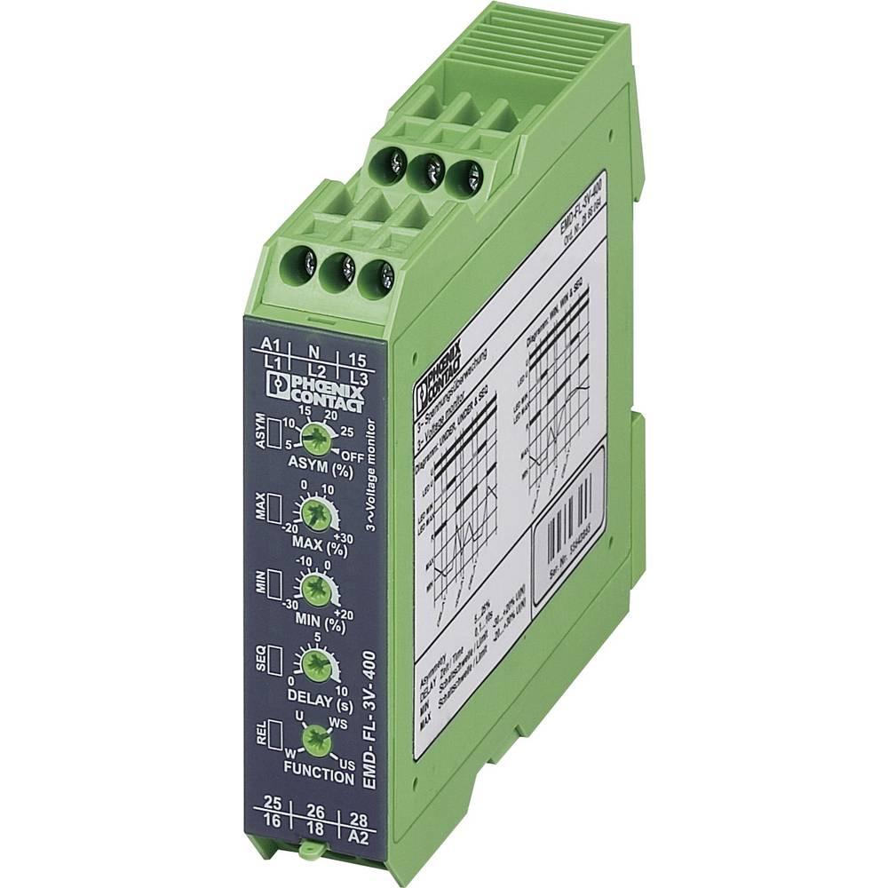 Nadzorni rele 2 izmenjevalnika 1 kos Phoenix Contact EMD-FL-3V-400 3-fazni, napetostni, asimetrija, podtokovni, fazni izpad, , o