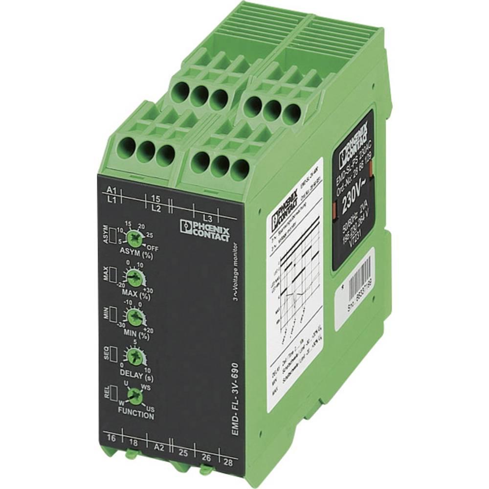 Nadzorni rele 2 izmenjevalnika 1 kos Phoenix Contact EMD-FL-3V-500 3-fazni, napetostni, asimetrija, podtokovni, fazni izpad, , o
