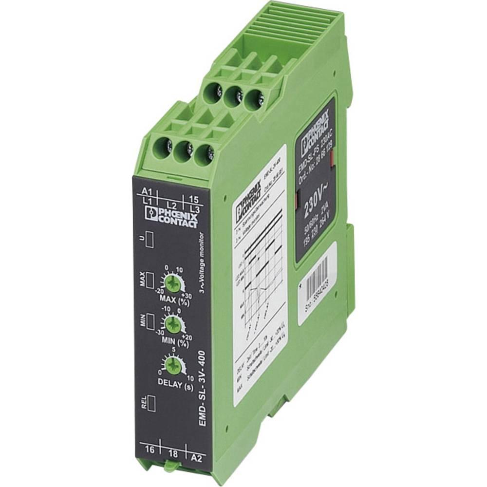 Overvågningsrelæer 1 x skiftekontakt 1 stk Phoenix Contact EMD-SL-3V-400 3-fase, Spænding, Vindue, Uden nulleder forbindelse