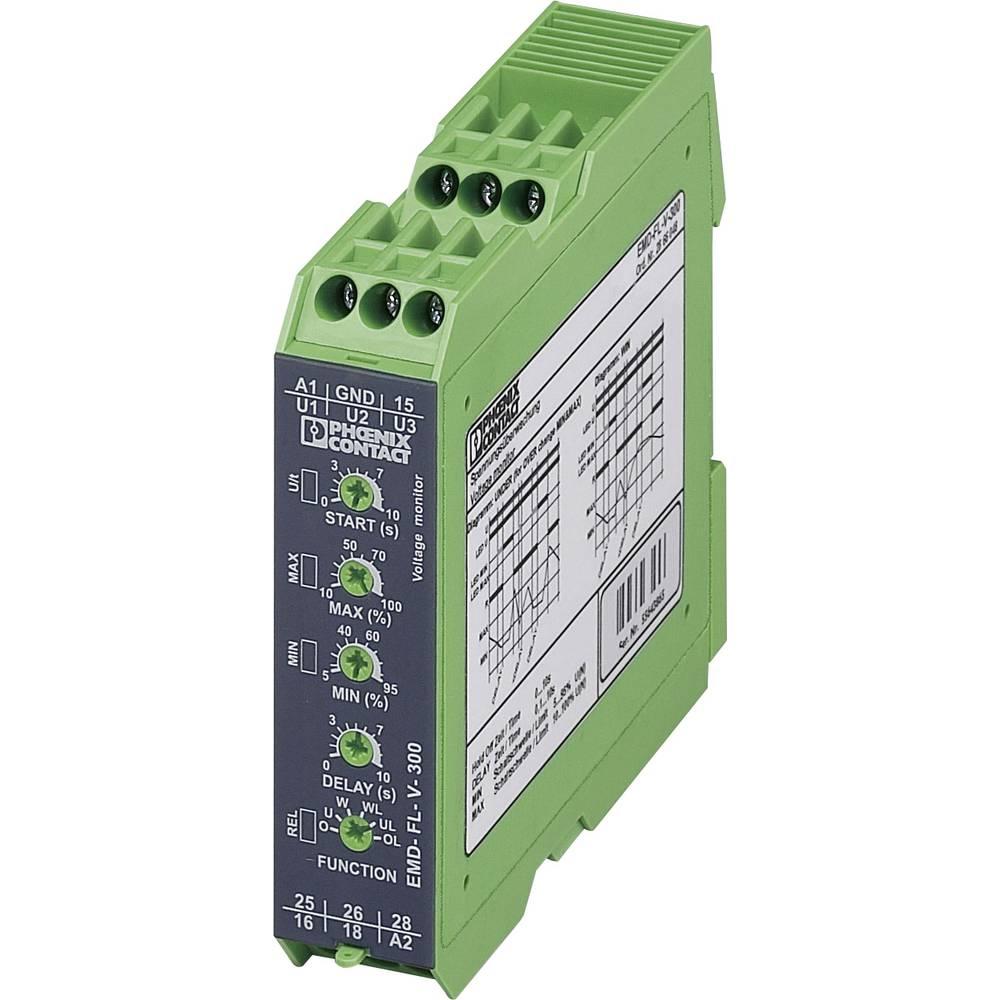 Nadzorni rele 2 izmenjevalnika 1 kos Phoenix Contact EMD-FL-V-300 1-fazni, napetostni, nadnapetostni, podtokovni, okno, pomnilni