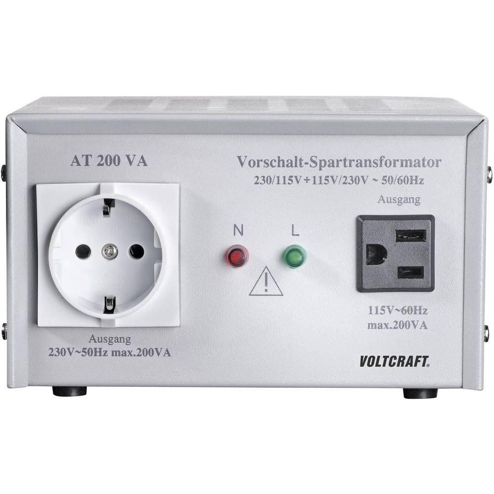 VOLTCRAFT AT-200 NV prednaponski transformator, naponski konvertor, 115/230 V/AC / 230/115 V/AC / 200 W