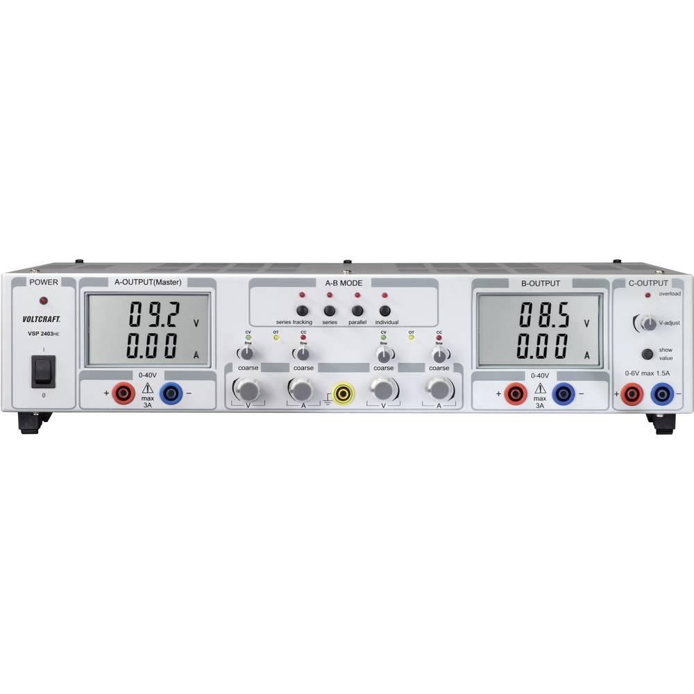 Laboratorijski napajalnik, nastavljiv VOLTCRAFT VSP 2403 0.1 - 40 V/DC 0 - 3 A 249 W število izhodov: 3 x kalibriran po DAkkS