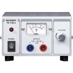Laboratorijski napajalnik, nastavljiv VOLTCRAFT PS-1152 A 1.5 - 15 V/DC 1.5 - 1 A 22.5 W število izhodov: 1 x kalibriran po ISO
