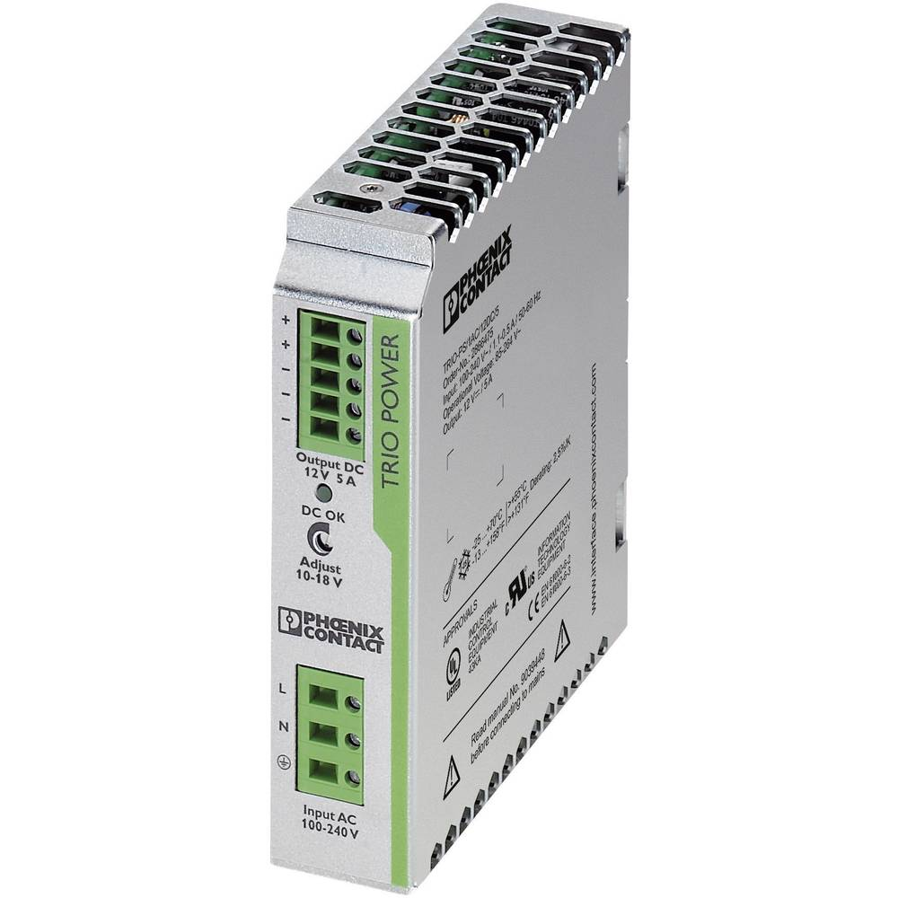 Napajalnik za namestitev na vodila (DIN letev) Phoenix Contact TRIO-PS/1AC/12DC/5 12 V/DC 5 A 60 W 1 x