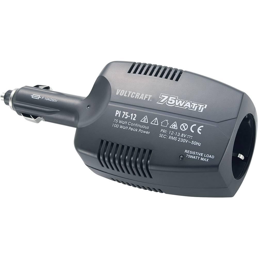 Razsmernik VOLTCRAFT PI 75-12 75 W 12 V/DC 12 - 13.8 V/DC brez ventilatorja, vtič za cigaretni vžigalnik, varnostna vtičnica