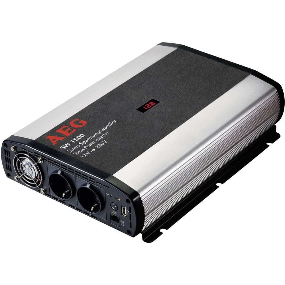 Inverter AEG SW 1500 1500 W 12 V/DC 12 V/DC (10,5 - 12,0 V/DC) inkl. fjernbetjening Skrueklemmer
