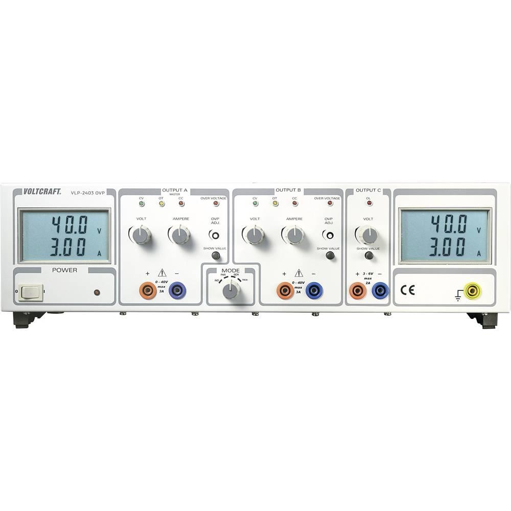 Laboratorijski napajalnik, nastavljiv VOLTCRAFT VLP 2403 OVP 0 - 40 V/DC 0 - 3 A 252 W OVP število izhodov: 3 x kalibriran po IS