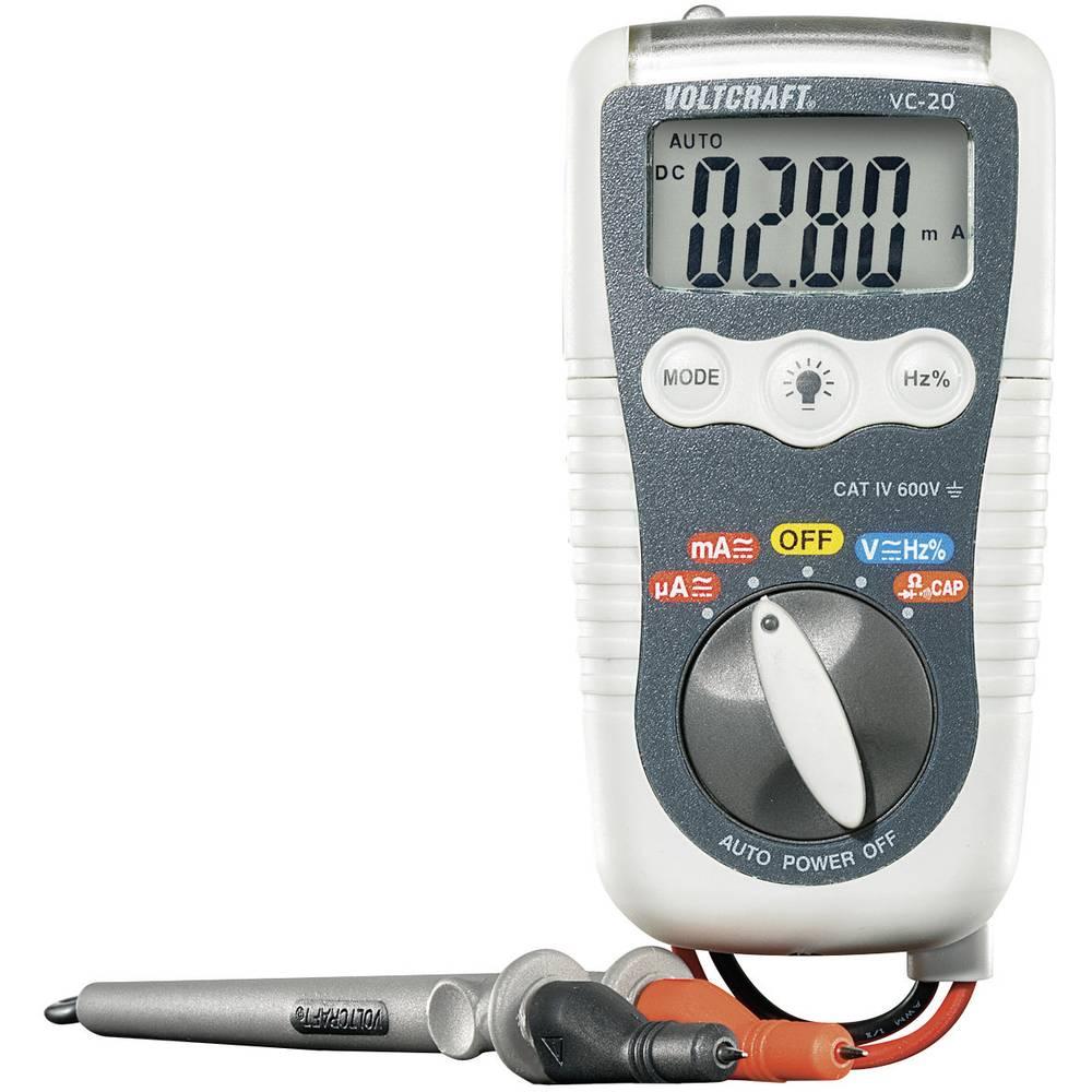 Ročni multimeter digitalni VOLTCRAFT VC-20 kalibriran po: ISO zaščiten pred škropljenjem vode (IP54) CAT IV 600 V prikazovalnik
